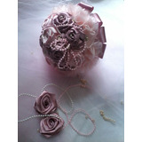 Buque Casamento Noiva/bouquet Artificial Rosas Cetim Td Cor