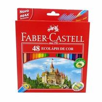 Caixa Lápis Com 48 Cores Faber Castell, Brinde Apontador