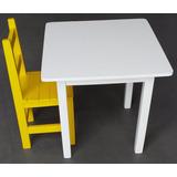 Mesa Infantil De Madeira Colorida Com 2 Cadeiras Pint. Laka
