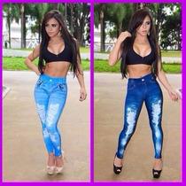 Calça Legging Estampa Imita Jeans D Qualidade Fitness Suplex