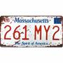 Quadro Placa Carro Antiga Retro Alumínio Massachusetts 12362