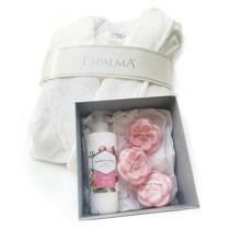 Kit Baño Bata Espalma Blanca +pablo Paez Fragancia Rosa Deco