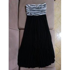 Vestido Casual Con Cola Blanco Y Negro Talla S