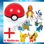 Pokemon Go 1 Pokebola Pokeball + 6 Figuras Muñecos Pokemon