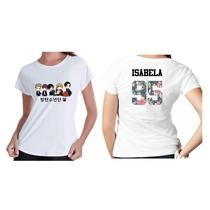 Camiseta Camisa Kpop Personalizada Grupo Bts Com Nome Flor 7