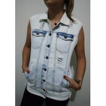 Colete Jeans Max Rasgado Lady Rock Bordado Jaqueta Blusa