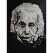 Einstein, Pintura Al Oleo, Retrato Sobre Bastidor, Cuadros