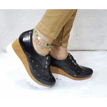 Calzado Plataforma Charol Negro Oxford De Moda Mujer Dama