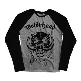 Camiseta Blusa Manga Longa Cinza Motorhead Bandas Rock