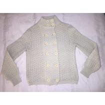 Saco Sweater Lana Con Botones Y Cuello Jazmín Chebar Talle S