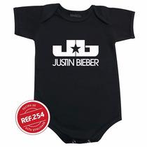 Body Justin Bieber Bebê Bori Roupinha Camiseta Infantil