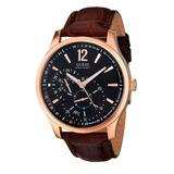 Reloj Guess U10627g1 Cronógrafo Correa De Cuero Marrón