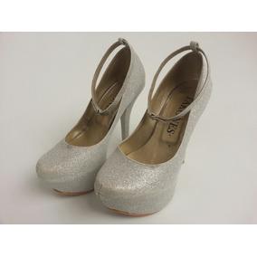 Zapato Dama Tacon Alto Y Plataforma Escarchado Brillante 34