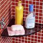 Raque Ou Porta Shampoo De Canto De Vidro Fume 21x21cm