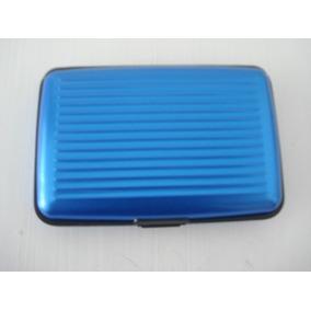 Carteira De Segurança Aluminio Azul Protege Cartões Document