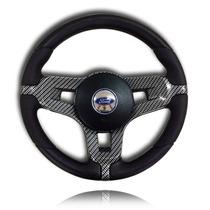 Volante Direção Esportivo Mustang Fibra De Carbono Fiesta