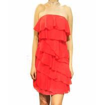 Vestido Strapless Con Volados, Fiesta, Mujer, Brishka M-0099