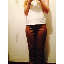 Pantalon Mujer De Tela Marca Patt Café Talla 38