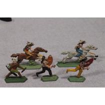 Lote De 5 Antiguos Indios En Plomo Figuras Semi Planas