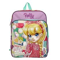 Mochila Grande Com Bolso Infantil Polly Rosa Original