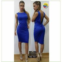 Vestido Azul Para Mujer Escote En La Espalda Licrado