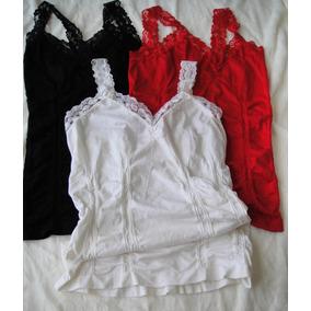 Musculosa Camiseta Encaje Importada Blanca Elastizada