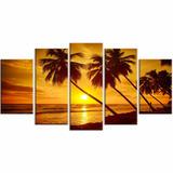 Quadro Decorativo Abstrato Praia, Pôr Do Sol, Ilha, Barbados