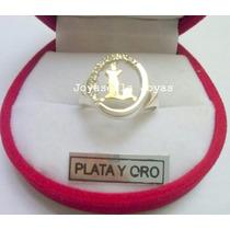 Anillo Sello Inicial Plata Y Oro Con Cubic. Precioso Diseño