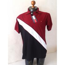 Camisa Playera Tipo Polo Color Vino Negro Hombre Marca Tommy