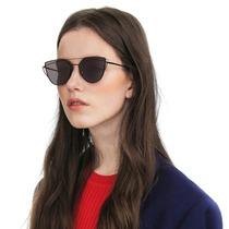 Óculos De Sol Espelhado Fit Gatinho Metal Redondo Uv400