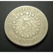 Rccml244 Rara Moeda Dos Estados Unidos 5c 1866