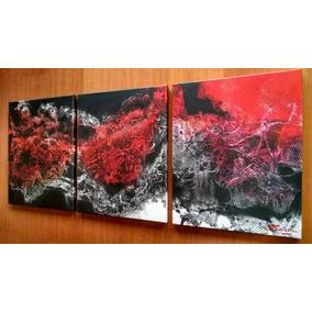 Cuadro Tríptico Obra Única Blanco Negro Rojo Pintado A Nano
