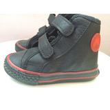 Botitas Zapatillas Eco Cuero Negras Velcro Toot Bebe Nene 20