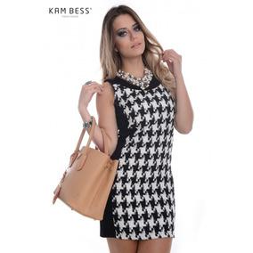 Vestido Feminino Black And White - Kam Bess - Ve0756