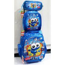 Kit Mochila Infantil C Rodinhas Bob Zoom 3d Azul Até 7 Anos