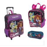 Kit Mochila G Bolso Monster High 16m Plus Sestini Rodinhas