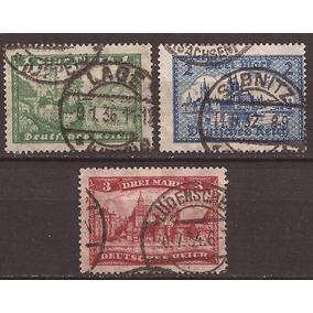 Alemania Reich 1924 Serie 3 Sellos Usados 11 U$d De Catalogo