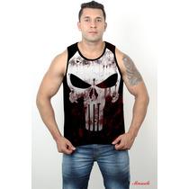 Camisa Regatas Justiceiro 3 Treino Academia Machão Dry Fit