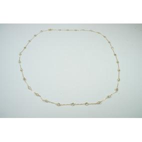 Swjoias Corrente Colar Pedras Brancas Zirconia Ouro18k 750