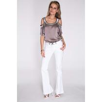 Calça Jeans Flare Branca Cós Alto Roupa Top Lycra Barato!!
