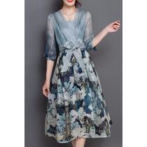 *fashionstore* Vestido Deluxe Vintage Estampado Azul R04