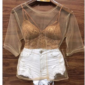 Blusa Camisa Camiseta Manguinha Tule Transparente Moda