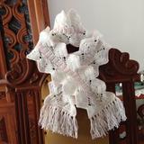 Cachecol Crochê Artesanal Infantil Menina Branco Rosa Fofo