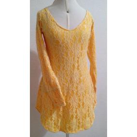 Também Sob Medida Vestido Curto Amarelo Renda Bordada Nobre