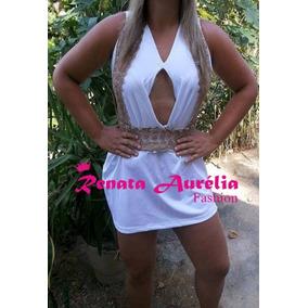 Vestido Branco Com Decote Bojo Rodado Renda