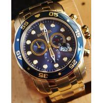 Reloj Invicta 0073 Pro Diver 18k Gold Azul - 1año Garantia