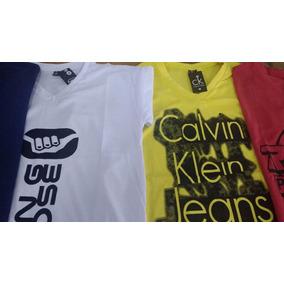 Kit 5 Camiseta Camisa Gola V Estampada Roupa Masculina