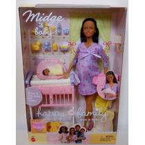 Boneca Barbie Grávida Morena Happy&family Rara - Mattel