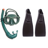 Kit Mascara Verde Mergulho + Nadadeira + Snorkel Cobra Sub