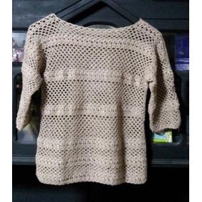 Remera De Hilo Sedificada M/cortas, Tejida Al Crochet, Nueva